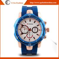 Buy cheap Top Quality Factory Price Curren Watch 8163 Rubber Band Stainless Steel Back Quartz Watch from wholesalers