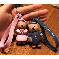 Buy cheap Hot Sale 3d Brown Bear Doll Soft PVC Keychain Key Holder With Silicone Wristband, Big Production Stock, Best Couple Gift from wholesalers