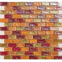 Buy cheap Orange red water waving glass mosaic tile for kitchen backsplash from wholesalers