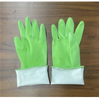 Buy cheap 300mm Green M50g Flock Lined Latex Gloves For Cleaning Window from wholesalers