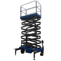 Buy cheap Working Height 14m Mobile Scissor Lift 450Kg Loading Capacity of Manual Pushing and Rain-proof Control Cabinet from wholesalers