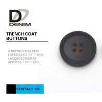 Buy cheap Large Textured Matt Black Trench Coat Buttons Pattern Design With 4 Holes from wholesalers