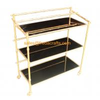 Buy cheap Custome Design Gold Leaf Finish Modern Design Cheap Bamboo Iron Frame with Black Mirror Bar Cart on Wheels from wholesalers