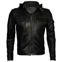 Buy cheap size 50 XL fitted hooded vintage black leather jackets for men single lining product