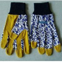 """Buy cheap 9.5"""" Yellow Leather & Blue Floral Cotton Gardening Gloves from wholesalers"""