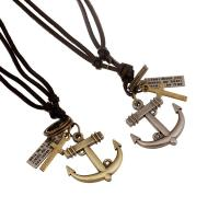 Buy cheap Hot selling antique brass plated anchor pendant leather necklace from wholesalers