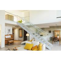 Buy cheap Modern villa stair design  Glass railing stainless balustrades wooden tread straight staircase from wholesalers