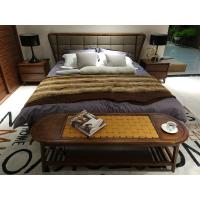 Buy cheap 2017 New design of Fabric Upholstered headboard Bed by Walnut wood frame for product