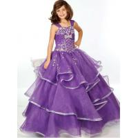 Buy cheap Pruple Organza and Rhinestones Floor Length Girls Pageant Dress Designs for Kids Evening Gowns UF-1110F from wholesalers