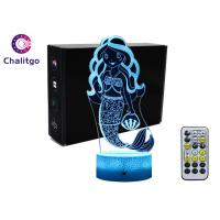 Buy cheap Mermaid 3D Night Light Table Lamp , Glass Illusions Lamps For Girls Decoration product