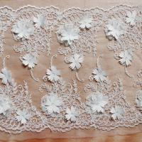 Buy cheap Beautiful White 3D Flower Lace Fabric , Double Edge Alencon Beaded Lace Fabric from wholesalers