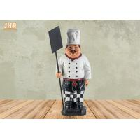 China Antique Resin Fat Chef Polyresin Statue Figurine Poly Chef Holding Wooden Chalkboard on sale