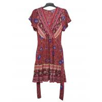 Buy cheap Viscose Floral Printed Slim Dresses With Crossover Neck And Belt Strap Fasten from wholesalers