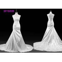 Sexy Illusion Neck Mermaid Lace and Satin Pleated Mermaid Wedding Dress