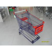 Buy cheap Supermarket 150 L Four Wheel Shopping Cart Zinc Plated And Red Plastic Parts from wholesalers