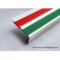 Buy cheap 2.5m Length Aluminum Stair Tread Nosing With 2 PVC Vinyl Insert Red And Green from wholesalers