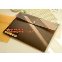 Buy cheap PP Polypropylene Plastic Office Stationery, PP Translucent plastic button document file folder bag with line structure from wholesalers
