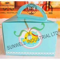 Buy cheap Cardboard Paper Lunch / Cake Food Packing Boxes With Handles Triangle Shape from wholesalers