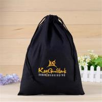 Buy cheap Black 100 Cotton Promotional Gift Bags With Silk Screen Printing Hot Stamping from wholesalers