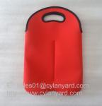 Neoprene wine bottle cooler handbag 2 bottle pack, neoprene bottle cooler sleeve,