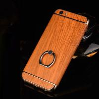 Buy cheap Hard PC Retro Wood Triple Plating Border Ring Buckle Bracket Cover Cell Phone Case Cover For iPhone 6 6s Plus from wholesalers