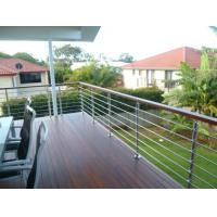 Buy cheap wood handrail stainless steel rod railing for staircase / terrace design product