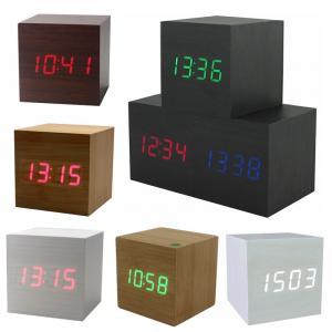 China Hot USB/AAA Powered Cube LED Digital Alarm Clock Square Modern Sound Control Wood Clock Display Temperature Night Light on sale