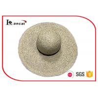 Buy cheap 100% Raffia Wide Brimmed Straw Hat Ribbon Sweatband Straw Trilby Hat from wholesalers