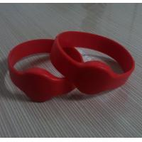 Buy cheap Silicone rfid wrist band with red color from wholesalers