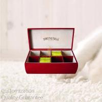 Buy cheap Custom Birch Wood Mahogany Wooden Tea Bags Display Storage Gift Box with Stamped Personal Logo. Quality Guarantee product