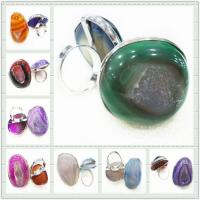 Buy cheap Mix Color Style Design Fashion Druzy Agate Jewelry, Agate Stone Ring from wholesalers