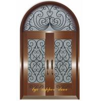 Buy cheap copper front doors with wrought iron flower from wholesalers