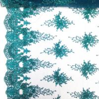 Buy cheap Green Color Teal Spirit Floral Bridal Beaded Lace Fabric On Mesh 100% Polyester product