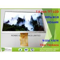 7 Inch TFT LCD Display High Luminance 1024 X 600 Resolution RGB 50 Pin Color LCD Module