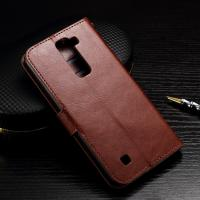 Buy cheap Wallet Stand Lg K7 Leather Cases Slim Design Brown Crazy Horse Drop Protection from wholesalers
