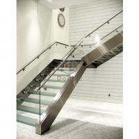 Buy cheap modern design steel glass railing staircase Wooden Staircase from wholesalers