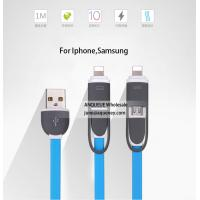 Buy cheap 2 in 1 flexible Flat compatible USB Data Cable For Micro And iPhone usb charging cable from wholesalers
