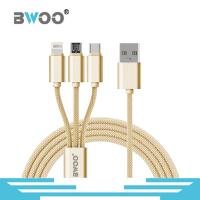 Buy cheap Bwoo Colorful 1M Nylon Braided USB Data Cable 3 in 1 Micro Lightning & Type-C in 1 from wholesalers