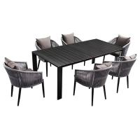 Buy cheap Rope And Aluminum Outdoor 6 Seater Garden Table And Chairs from wholesalers