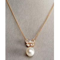 Buy cheap peach pearl bow necklace,gold plated sterling silver jewelry from wholesalers
