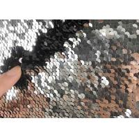 Buy cheap 5mm Reversible Sequin Fabric / Two Tone Sequin Fabric Satin Black Table Cloth Color Mesh Dress from wholesalers