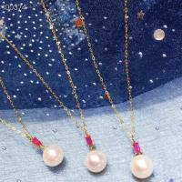 Buy cheap Ruby Gemstone Gold Jewelry Pendant Chain Necklace With Freshwater Pearls from wholesalers