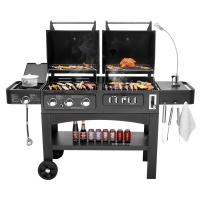 Buy cheap Flame Safety Commercial Kitchen Equipments Dual Fuel GAS / Charcoal BBQ Outdoor Combo Grills from wholesalers
