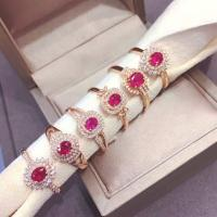 Natural Gemstone Gold Jewelry , Rose Gold Ruby Ring With Diamond Cluster