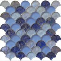 Buy cheap Blue blend serie backsplash water waving glass mosaic from wholesalers