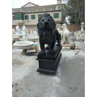 Buy cheap Garden decoration statues outdoor granite handcarved lions sculptures black colour stone lions from wholesalers