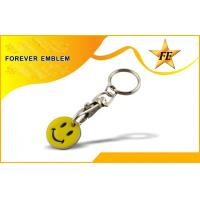 Buy cheap Smile Face Shopping Trolley Coin Customized Logo With Key Holder from wholesalers