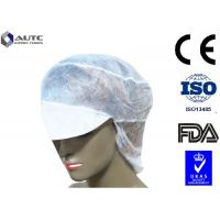 Buy cheap Peak Disposable Medical Caps Stitched Band Repels Fluids With Hair Net product