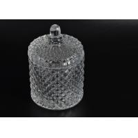 Buy cheap Elegant White Glass Dome Candle Holder Personalised Glass Jars With Lid from wholesalers
