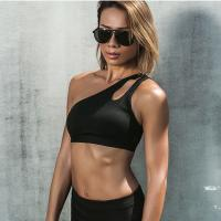 Buy cheap Nylon Womens Running Bras , One Shoulder Padded Bra Push Up Tight Seamless from wholesalers